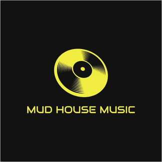 Mud house music logo featuring yellow phonograph record