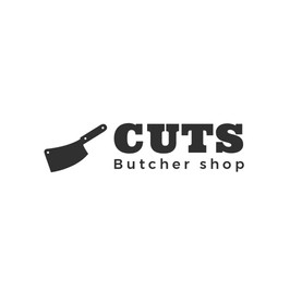 Cuts butcher shop の肉切り包丁が描かれたロゴ