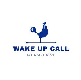 Wakeup call の鶏の絵が描かれたロゴ