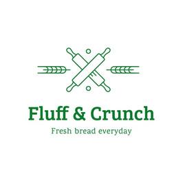Logo de Fluff and crunch con rodillos cruzados