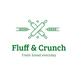 Fluff and crunch logo with crossed rolling pins