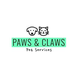 Логотип Paws and Claws с изображением собаки и кошки