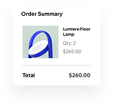 An order summary for a purchase from an online lighting store with two lights in the cart.