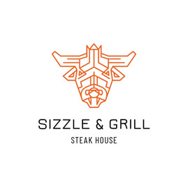 Sizzle grill steak house の牛の頭が描かれたロゴ