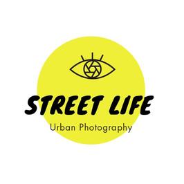 Logo de Street Life con un ojo con un obturador como iris