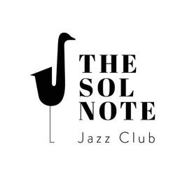 Logo do club de jazz the sol com saxofone