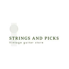Logo mit Gitarrensaiten von Strings and Picks, Vintage-Gitarrenshop