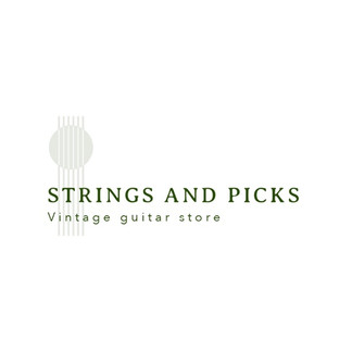 Strings and picks vintage guitar store logo featuring guitar strings
