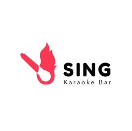 Sing Karaoke Bar-Logo mit flammendem Mikrofon