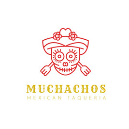 Muchachos taqueria logo with a skull in a hat