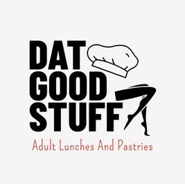 Dat good stuff のシェフの帽子と女性の脚が描かれたロゴ