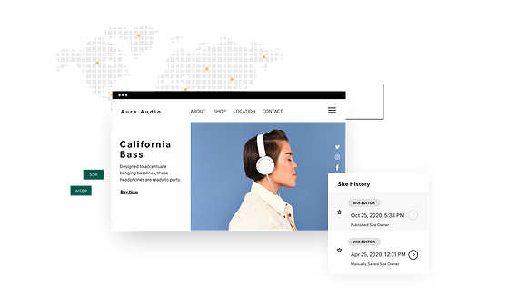 A product page for an online headphone store. Behind it is a map of the world showing the global CDN of servers supporting it, and in front is an image of the site editing history.
