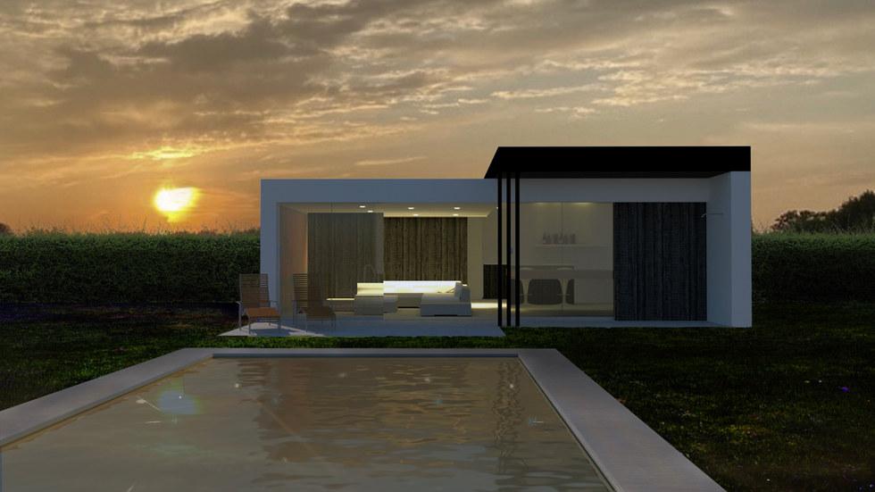 modern bijgebouw met ongelijke daken wit