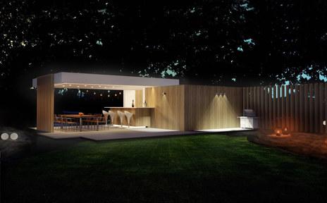 poolhouse ongelijke daken avondlicht .jp
