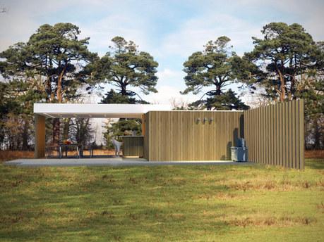 modern poolhouse met ongelijke daken .jp