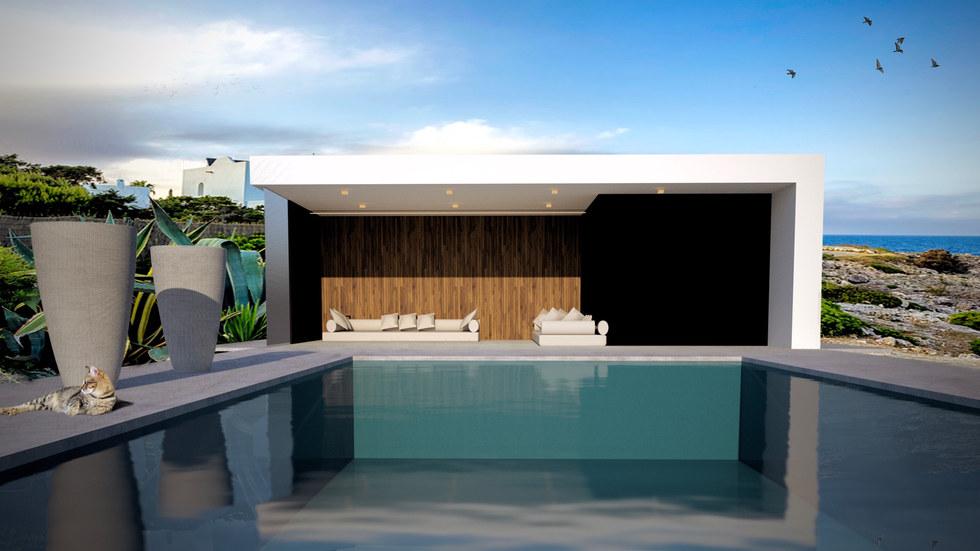 poolhouse aan zwembad modern wit zwart .
