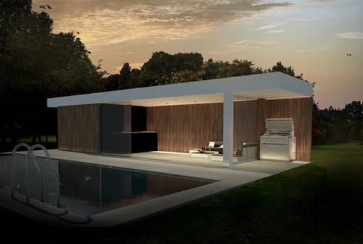 modern poolhouse met barbeque en buitenk