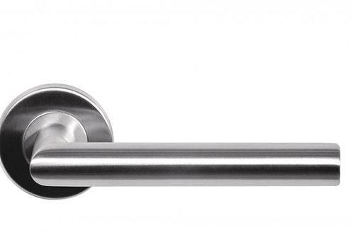 deurkruk met ronde rozetten in RVS