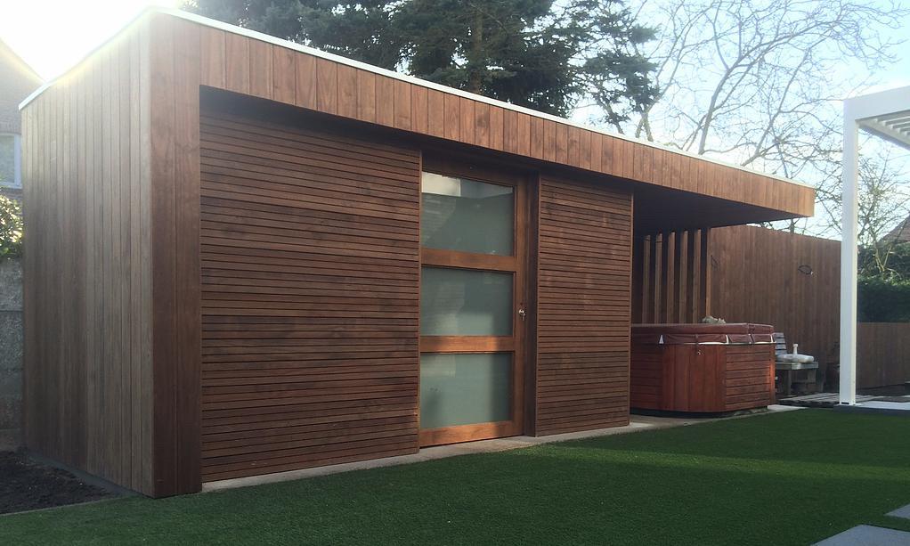 modern poolhouse schuifdeur thermowood r