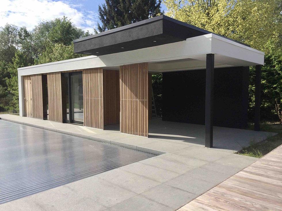 poolhouse 4 x 10 m crepi wit en zwart .j