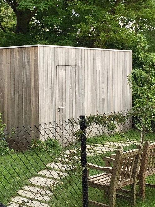 hout voor tuinhuiswand in padoek planchet