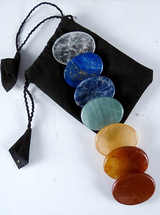 7 Chakra Worry Stone Set with Pouch