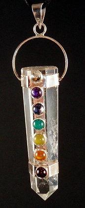 Clear Quartz & Silver Chakra Balancing Pendant