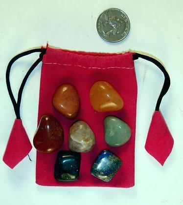 7 Chakra Tumbled Stone Set with Pouch, Reiki Ene