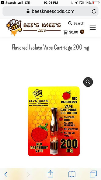 CBD Flavored Isolate Vape Cartridge 200mg