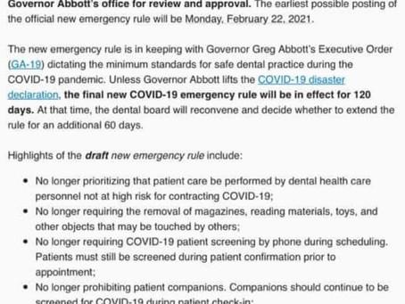 02/19/21 TSBDE Emergency Rule Update