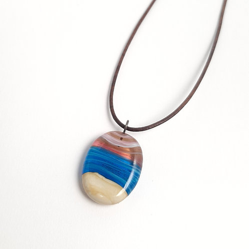 Sand infused pink sunset turquoise ocean necklace