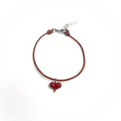 tiny heart leather bracelet