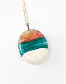Sand infused pink sunset teal ocean necklace