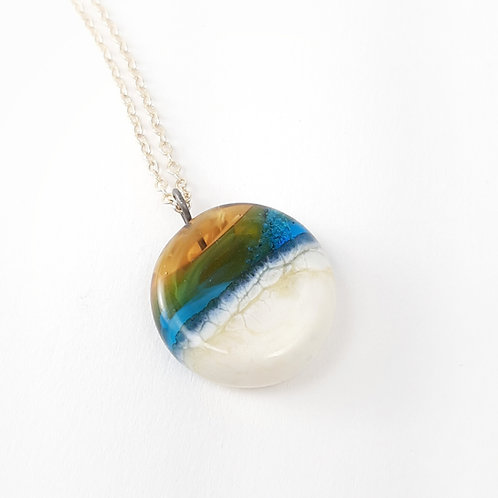Sand infused golden sunset turquoise ocean necklace