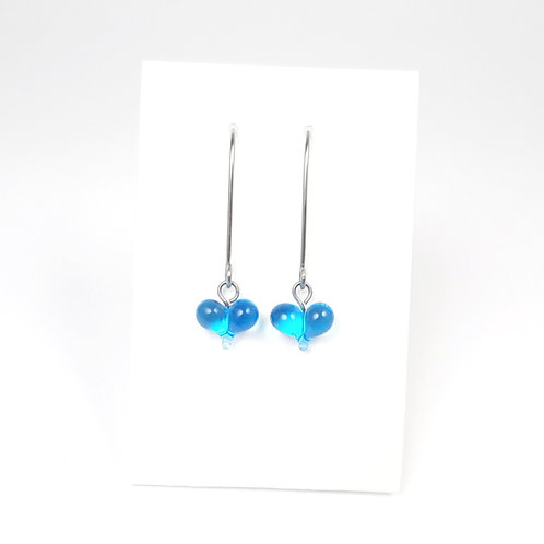 tiny glass heart earrings