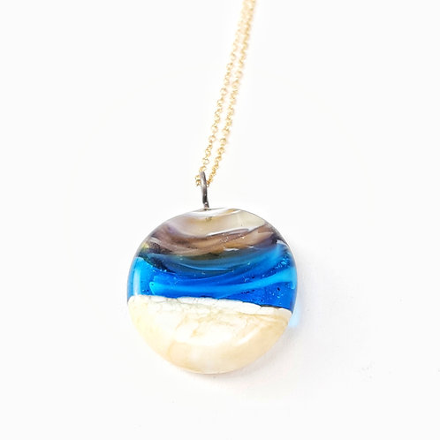 Sand infused purple sunset turquoise ocean necklace