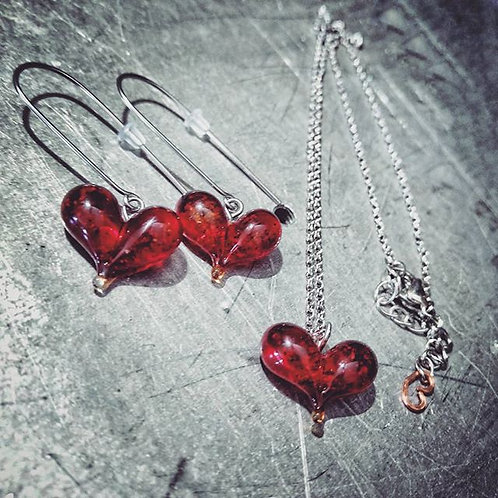 sand infused heart necklace & earring set