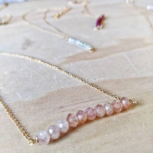 strawberry quartz ombre necklace