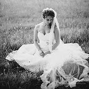 bride portrait field rustic outdoor