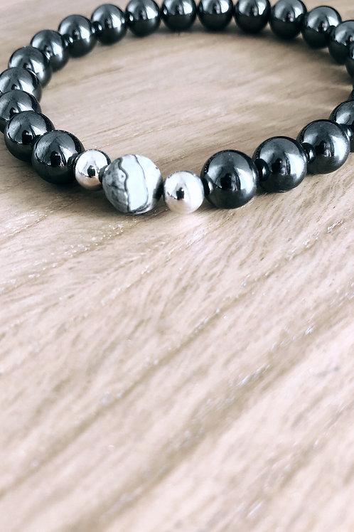 Bracelet Argent 925, Hématite et Jaspe paysage gris