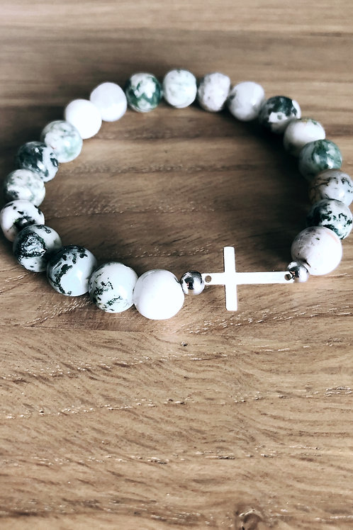 Bracelet Argent 925, Agate et croix