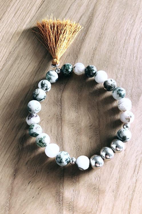 Bracelet Argent 925, Agate et pompon caramel