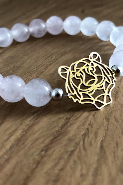 Bracelet Argent 925, Quartz rose et tête de tigre doré