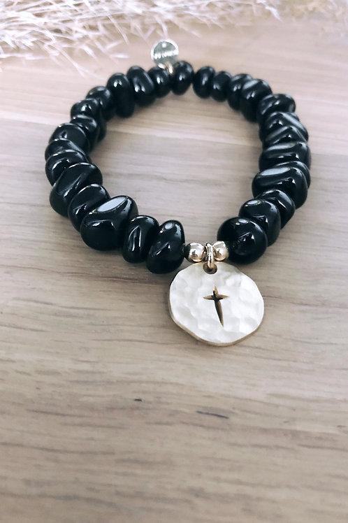 Bracelet Agate noire Divine & Sauvage