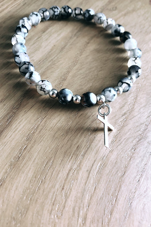 Bracelet Argent 925, Agate et breloque croix