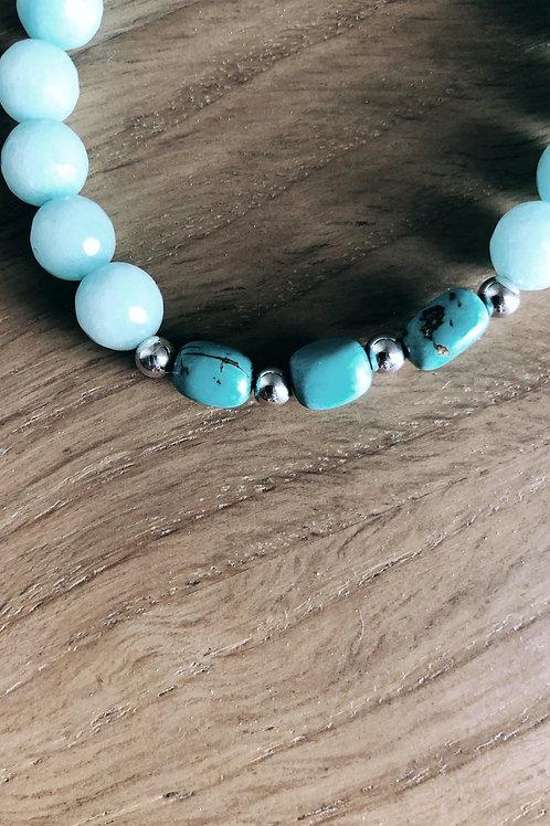 Bracelet Argent 925, Amazonite et Howlite turquoise