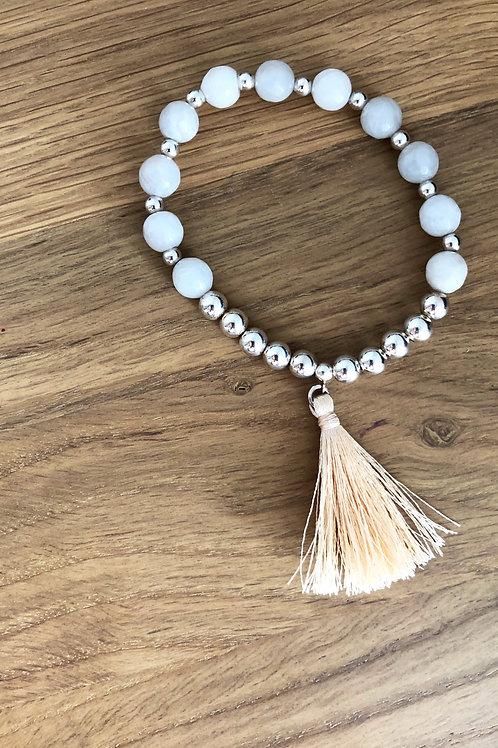 Bracelet Argent 925, Agate et breloque pompon