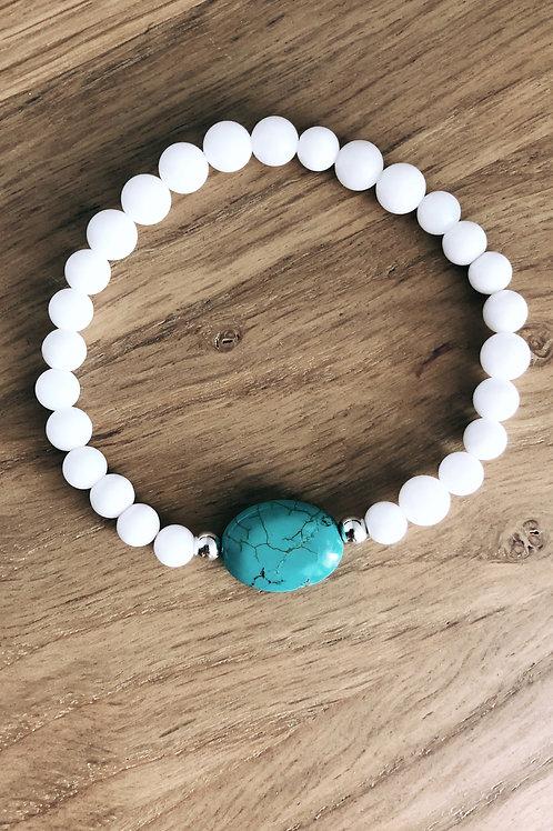 Bracelet Argent 925, Coquillage et Howlite turquoise