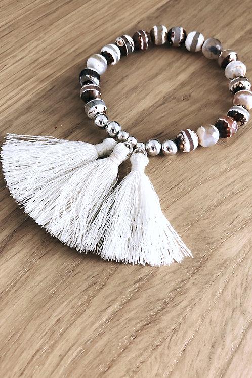 Bracelet Argent 925, Agate et breloque pompons