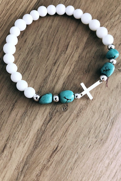 Bracelet Argent 925, Coquillage, Howlite turquoise et croix